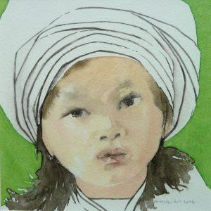 Chinese girl - White hat - 2014 - 16x16 cm